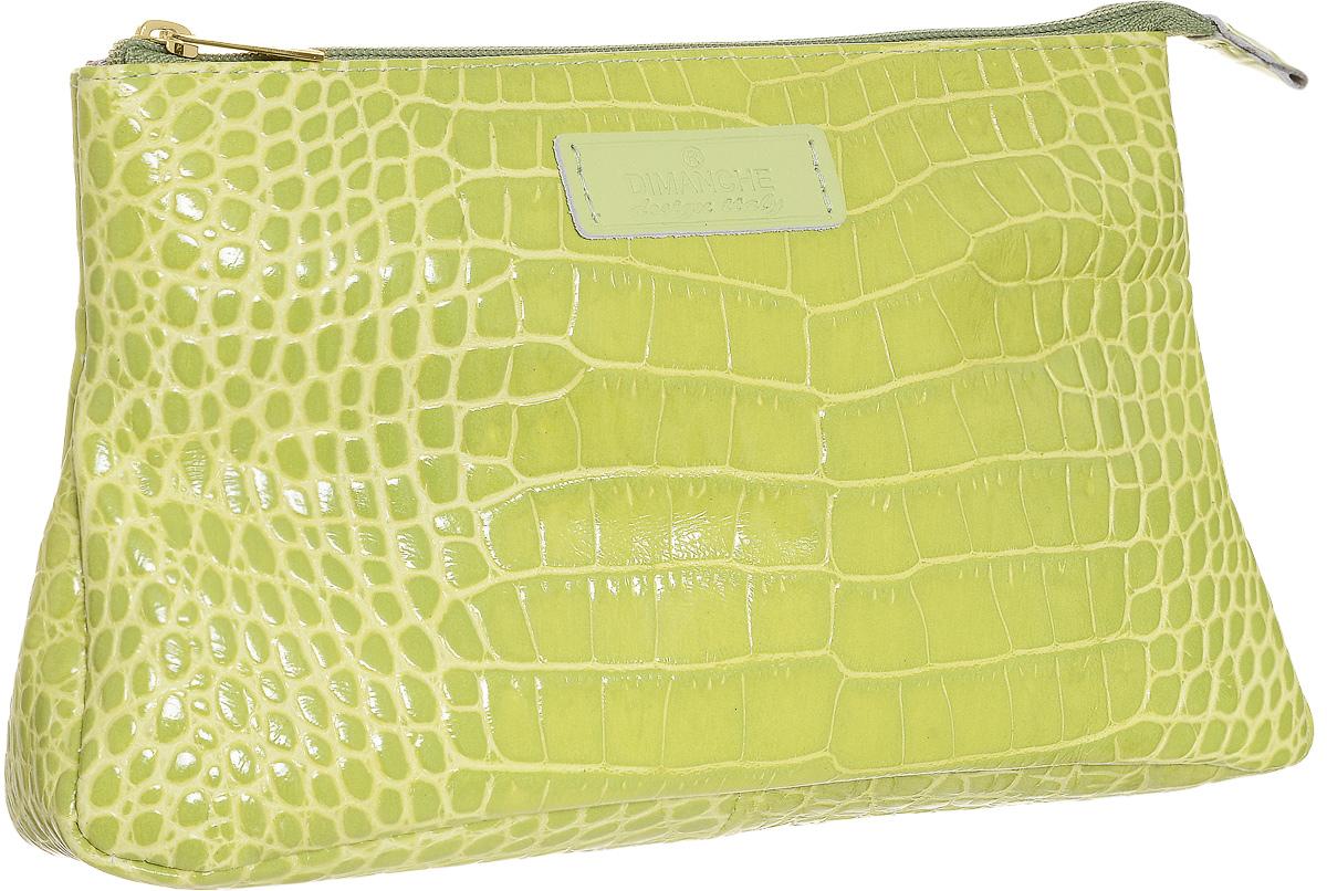 Косметичка Dimanche Лайм, цвет: лайм. 395395Стильная косметичка Лайм выполнена из натуральной кожи с декоративным тиснением. Косметичка на подкладке, закрывается на молнию, объемная, мягкая, внутри одно большое отделение. Объемное дно и удобная застежка делают аксессуар универсальным в повседневном использовании. Характеристики: Цвет: лайм. Материал: натуральная кожа, металл, текстиль. Размер косметички: 23 см x 15 см x 6 см. Производитель: Россия. Артикул: 395.