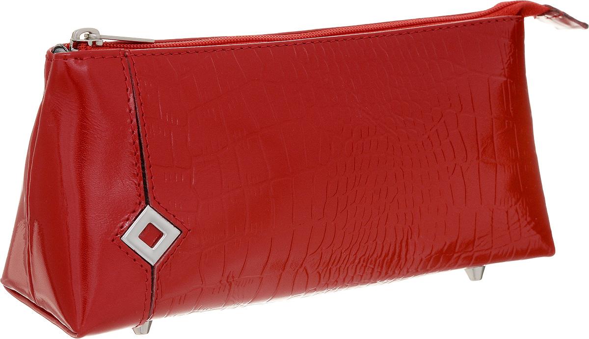 Косметичка Dimanche Papillon Rouge, цвет: красный. 338338Стильная косметичка Papillon Rouge выполнена из натуральной кожи с декоративным тиснением. Косметичка закрывается на металлическую молнию, внутри одно большое отделение, на донышке четыре металлических ножки. Объемное дно и удобная застежка делают аксессуар универсальным в повседневном использовании. Характеристики: Цвет: красный. Материал: натуральная кожа, металл, текстиль. Размер косметички: 19 см x 9 см x 5 см. Производитель: Россия. Артикул: 338.
