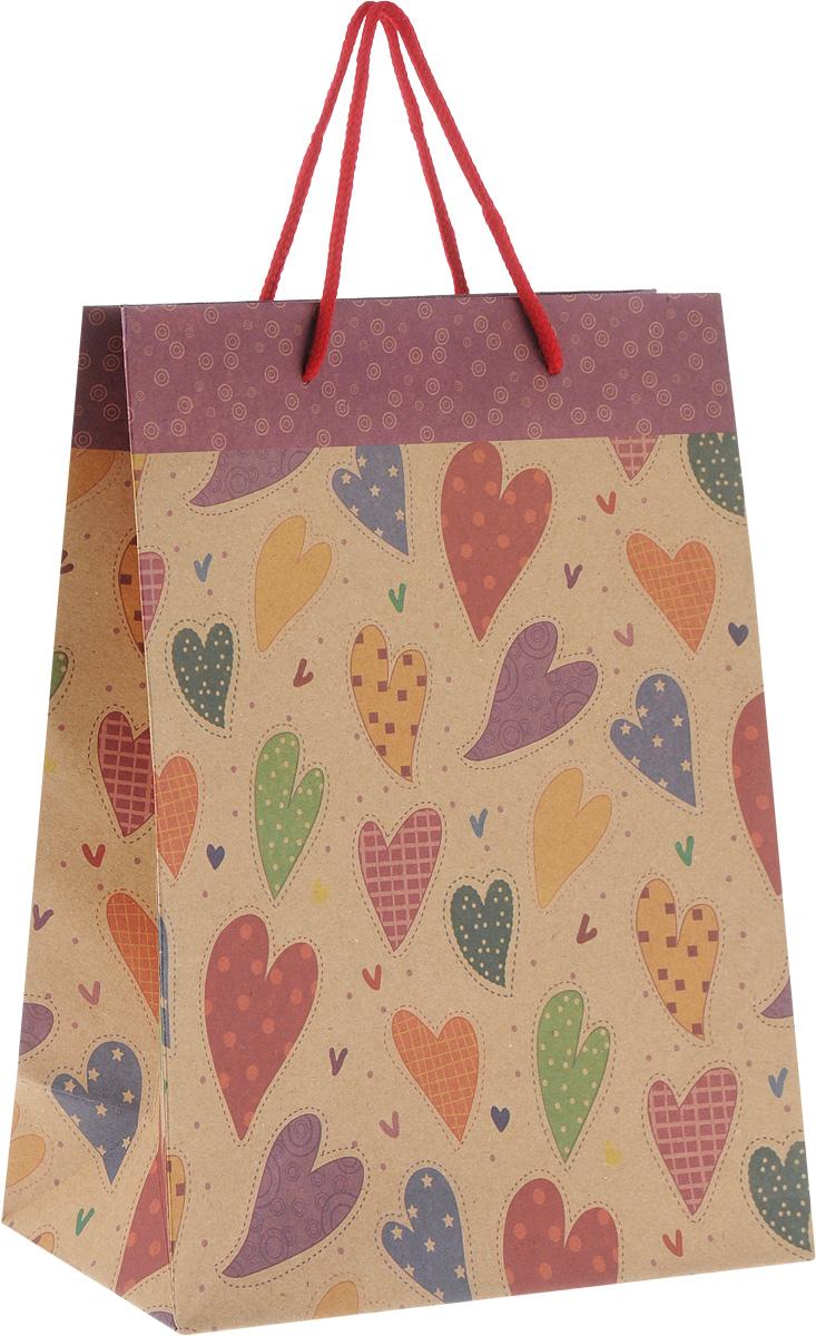 Пакет подарочный Феникс-Презент Сердечки, 19 х 8 х 24,5 см43744Подарочный пакет Феникс-Презент Сердечки, изготовленный из плотной крафт-бумаги с рисунками сердечек, станет незаменимым дополнением к выбранному подарку. Дно изделия укреплено картоном, который позволяет сохранить форму пакета и исключает возможность деформации дна под тяжестью подарка. Для удобной переноски имеются две текстильные ручки в виде шнурков. Подарок, преподнесенный в оригинальной упаковке, всегда будет самым эффектным и запоминающимся. Окружите близких людей вниманием и заботой, вручив презент в нарядном, праздничном оформлении.