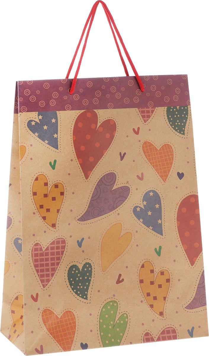 Пакет подарочный Феникс-Презент Сердечки, 24 х 8 х 33 см43734Подарочный пакет Феникс-Презент Сердечки, изготовленный из плотной крафт-бумаги с рисунками сердечек, станет незаменимым дополнением к выбранному подарку. Дно изделия укреплено картоном, который позволяет сохранить форму пакета и исключает возможность деформации дна под тяжестью подарка. Для удобной переноски имеются две текстильные ручки в виде шнурков. Подарок, преподнесенный в оригинальной упаковке, всегда будет самым эффектным и запоминающимся. Окружите близких людей вниманием и заботой, вручив презент в нарядном, праздничном оформлении.