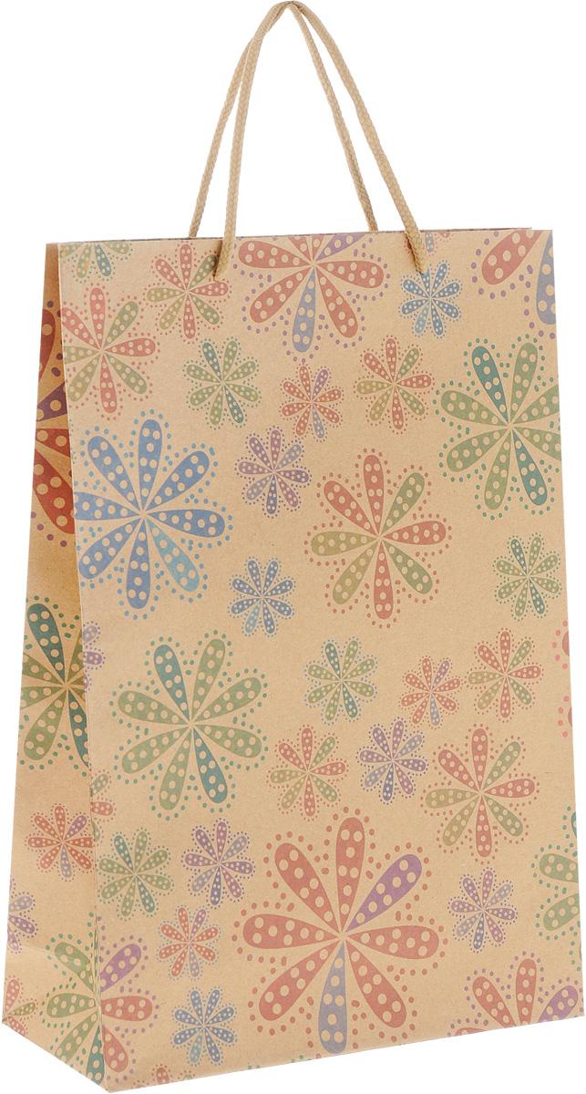 Пакет подарочный Феникс-Презент Цветы в горошек, 24 х 8 х 33 см43735Подарочный пакет Феникс-Презент Цветы в горошек, изготовленный из плотной крафт-бумаги, станет незаменимым дополнением к выбранному подарку. Дно изделия укреплено картоном, который позволяет сохранить форму пакета и исключает возможность деформации дна под тяжестью подарка. Пакет украшен оригинальным цветочным рисунком. Для удобной переноски имеются две текстильные ручки в виде шнурков. Подарок, преподнесенный в оригинальной упаковке, всегда будет самым эффектным и запоминающимся. Окружите близких людей вниманием и заботой, вручив презент в нарядном, праздничном оформлении.