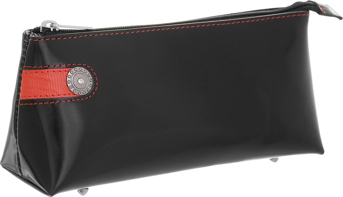 Косметичка Dimanche Panthere Noire, цвет: черный. 328328Стильная косметичка Panthere Noire выполнена из натуральной кожи с декоративным тиснением. Косметичка закрывается на металлическую молнию, внутри одно большое отделение, на донышке четыре металлических ножки. Объемное дно и удобная застежка делают аксессуар универсальным в повседневном использовании.