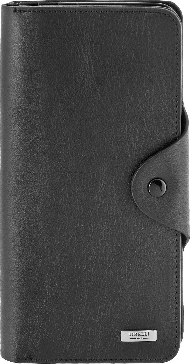 Купюрник Tirelli Классик, цвет: черный. 15-252-0715-252-07Купюрник Tirelli Классик изготовлен из натуральной кожи черного цвета с матовой текстурой и закрывается хлястиком на кнопку. Купюрник оформлен фирменным логотипом. Внутри имеется четыре отделения для купюр, шестнадцать кармашков для хранения пластиковых карт, визиток, дисконтных карт, два отделения с сетчатым окошком для фотографий, три потайных кармашка для бумаг, карман на застежке-молнии и открытый кармашек. Такой купюрник станет отличным подарком для человека, ценящего качественные и необычные вещи. Изделие упаковано в подарочную коробку синего цвета с логотипом фирмы Tirelli. Характеристики: Материал: натуральная кожа, металл. Цвет: черный. Размер портмоне (в сложенном виде): 9,5 см х 18 см х 2,5 см.