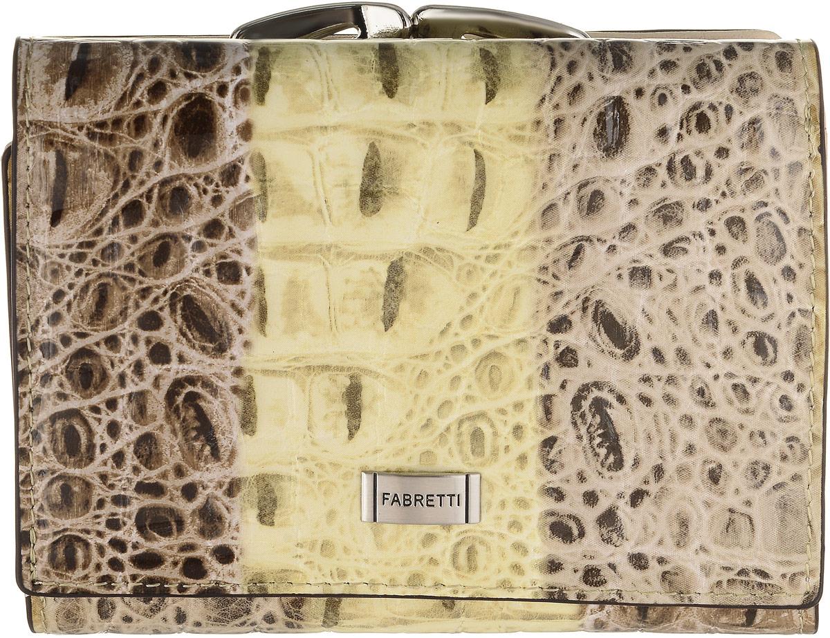 Кошелек женский Fabretti, цвет: бежевый, серо-коричневый. 4700947009-colourful cocco LКошелек Fabretti выполнен из натуральной лаковой кожи с тиснением под рептилию. Изделие оформлено металлической пластинкой с названием бренда. Внутри расположено вместительное отделение для купюр, три горизонтальных кармана, пять вертикальных карманов для визитных и дисконтных карт, одно из которых с прозрачным окошком. Отделение закрывается клапаном на кнопку. Также внутри находится отделение, закрывающееся на кнопку, которое состоит из пяти карманов, одно из которых с пластиковым окошком. Кошелек имеет отдельный карман для мелочи, закрывающийся на рамочный замок.