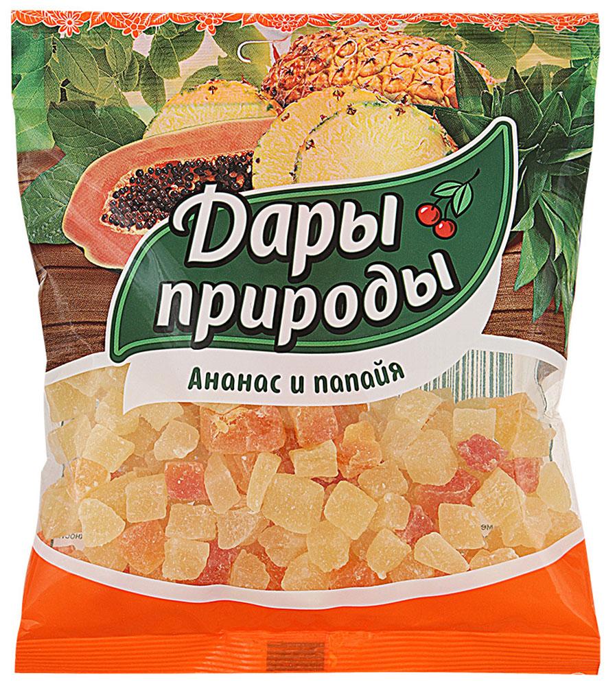 Дары природы цукаты ананас и папайя сушеные, 150 г1240Цукаты - это бесценный источник: энергии; полезных элементов, витаминов и минералов. Цукаты - это те же фрукты, сначала засахаренные и затем подсушенные. Цукаты из папайи и ананаса сохраняют вкусовые и питательные свойства этих экзотических фруктов. Они являются прекрасным десертным продуктом. Уважаемые клиенты! Обращаем ваше внимание, что полный перечень состава продукта представлен на дополнительном изображении.