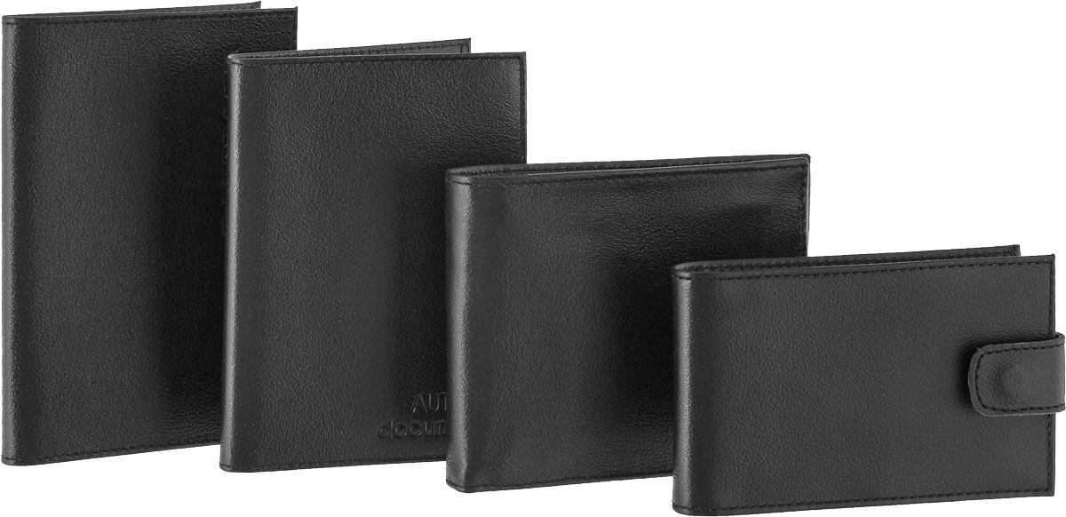 """Подарочный набор Befler """"Грейд"""": бумажник водителя, обложка для паспорта, портмоне, визитница, цвет: черный. BV.1/O.1/PM.39/V.31-9"""