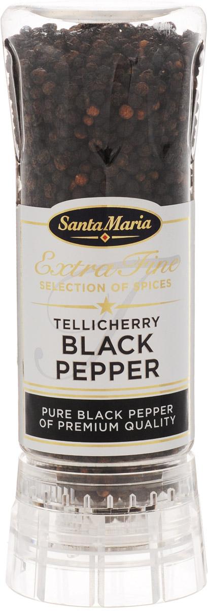 Santa Maria Черный перец Теличерри, 210 г4140Черный перец Santa Maria Теличерри в мельнице. Этот сорт перца отличается крупным размером, поэтому считается премиальным продуктом. Крупные плоды перца имеют более яркий аромат, нежели обычный перец горошком, а также изумительный вкус, в полной мере отдавая его вашим любимым блюдам. Приятная острота перца окажется приятным дополнением к мясу, приготовленному на гриле, сковороде, в мультиварке. Добавьте перец теличерри к рыбе - вы почувствуете особую богатую гамму вкуса.