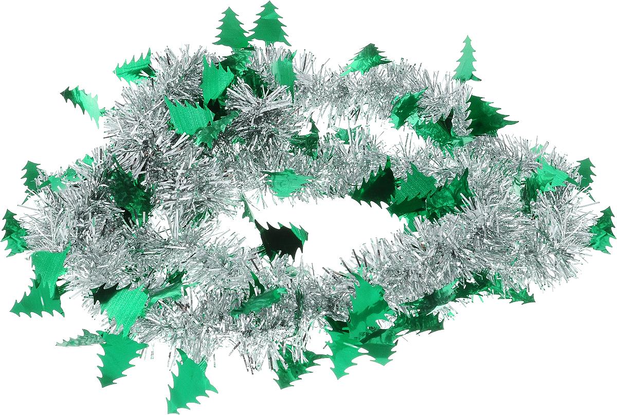 Мишура новогодняя B&H Елочки, цвет: серебристый, зеленый, длина 2 мBH1050_Елочки_серебристый, зеленыйМишура новогодняя B&H Елочки, выполненная из ПВХ, поможет вам украсить свой дом к предстоящим праздникам. Новогодняя елка с таким украшением станет еще наряднее. Новогодней мишурой можно украсить все, что угодно - елку, квартиру, дачу, офис - как внутри, так и снаружи. Можно сложить новогодние поздравления, буквы и цифры, мишурой можно украсить и дополнить гирлянды, можно выделить дверные колонны, оплести дверные проемы.