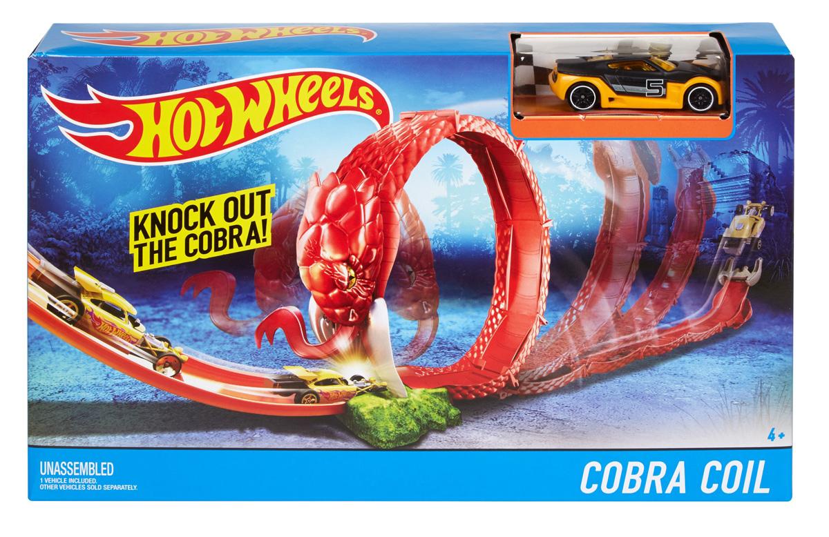 Hot Wheels Игрушечный трек Cobra CoilDWK94_DWK95Коллекция Hot Wheels Creature Set включает в себя множество разных наборов и игр. В каждом наборе детей ждет драматическое противостояние с одним из чудовищ. В набор входит одно чудовище и машинка Hot Wheels. Выбери из трековых наборов Cobra Coil, Crocodile Crunch, Scorpions Sting или игровой набор Sharkbait. Каждый набор продается отдельно. В набор входит одна базовая машинка Hot Wheels. Цвета и детали могут отличаться от изображения.