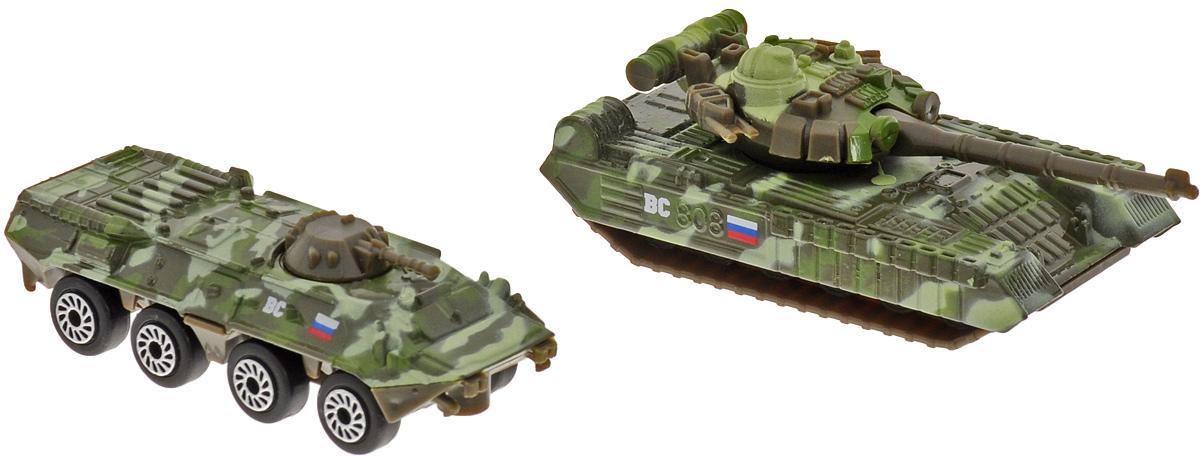 ТехноПарк Набор машинок Военная техника 2 шт SB-15-09-WBSB-15-09-WBНабор машинок ТехноПарк Военная техника состоит из двух боевых машин, изготовленных из металла с пластиковыми элементами и окрашенных в камуфляжные цвета. Модели прекрасно детализированы, функциональны и выглядят очень реалистично. Мальчику очень понравится играть с ними в сюжетные игры с военной тематикой.