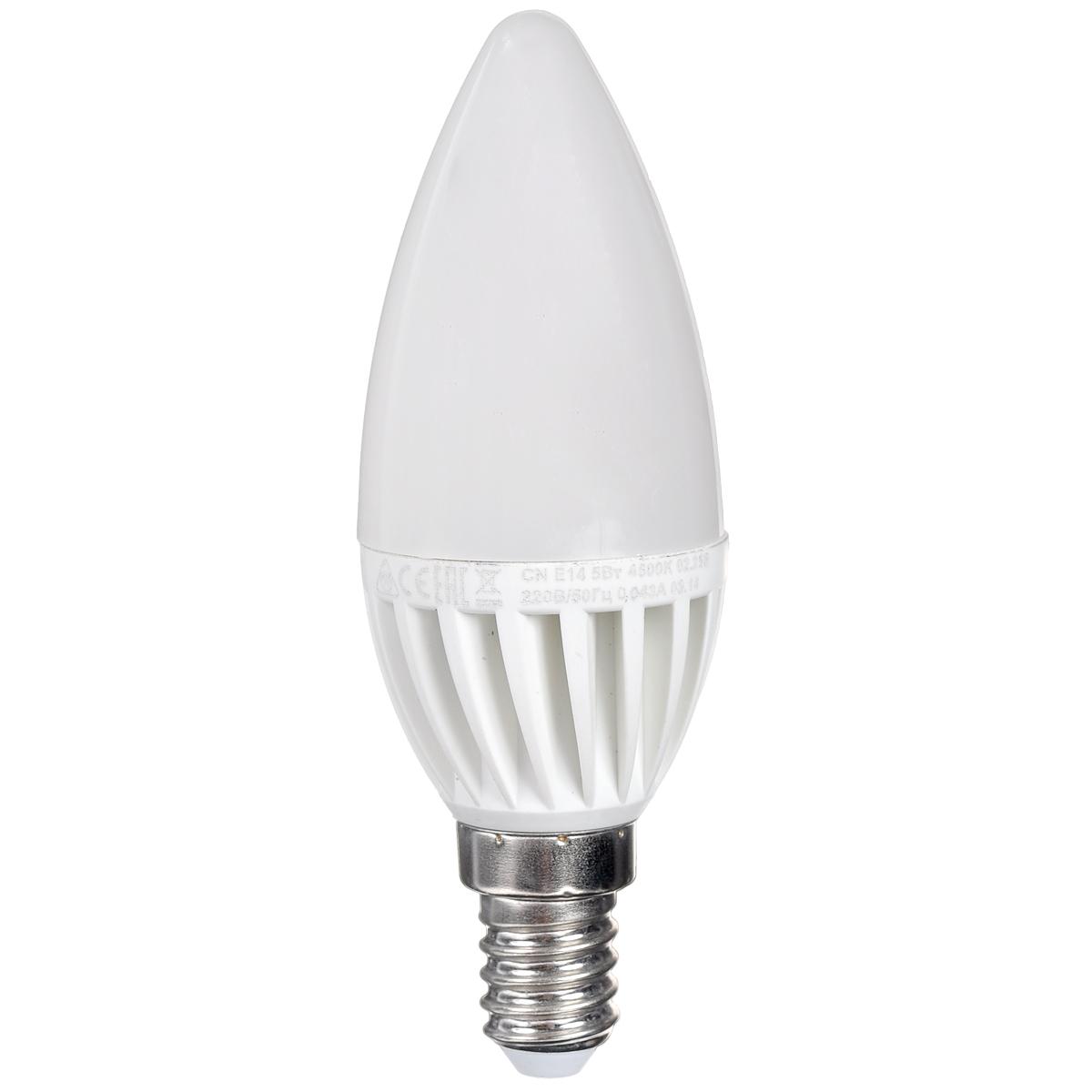 Светодиодная лампа Kosmos, белый свет, цоколь E14, 5W, 220V. Lksm_LED5wCNE1445Lksm_LED5wCNE1445КОСМОС LED CN 5Вт 220В E14 4500K (Lksm LED5wCNE1445) – представитель декоративной серии ламп из световых диодов. Преследует эффективное использование посредством классических люстр и БРА. Лампа сделана из оптимальных комплектующих, способна прослужить 30 тысяч часов. Экономия – до 90% электроэнергии. Цветовой индекс передачи Ra составляет >80. Заменяет ЛОН на 60W. Уважаемые клиенты! Обращаем ваше внимание на возможные изменения в дизайне упаковки. Качественные характеристики товара остаются неизменными. Поставка осуществляется в зависимости от наличия на складе.