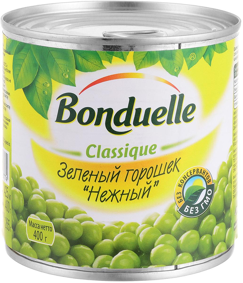 Bonduelle зеленый горошек Нежный, 400 г2447Нежнейший и сладкий зеленый горошек непревзойденного качества тщательно отбирается, прежде чем попасть в банку. Только у Bonduelle процесс от сбора с грядки до упаковки проходит всего за 4 часа - поэтому на вашем столе всегда самый лучший горошек мозговых сортов, в котором содержится меньше крахмала, больше витаминов и яркого вкуса. Уважаемые клиенты! Обращаем ваше внимание, что полный перечень состава продукта представлен на дополнительном изображении.