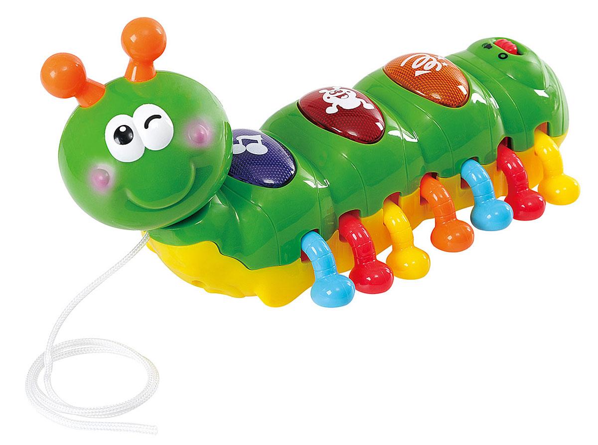 Playgo Развивающая игрушка Смеющаяся гусеницаPlay 2222Развивающая игрушка Playgo Смеющаяся гусеница надолго заинтересует вашего малыша. Игрушка изготовлена из качественного пластика в виде зеленой гусеницы с множеством цветных подвижных ножек. Голова гусеницы поворачивается с легким треском. На спине игрушки расположены три большие кнопки. Нажмите на одну из 3-х кнопок и послушайте забавную мелодию или звуки (по 3 мелодии или звука на каждую кнопку). Гусеницу можно использовать как каталку - у неё имеется прочная веревочка и маленькие колесики. Такая забавная игрушка будет способствовать развитию мелкой моторики, развивать воображение, слуховое и цветовое восприятие. Рекомендуется докупить 2 батарейки типа ААА (комплектуется демонстрационными).