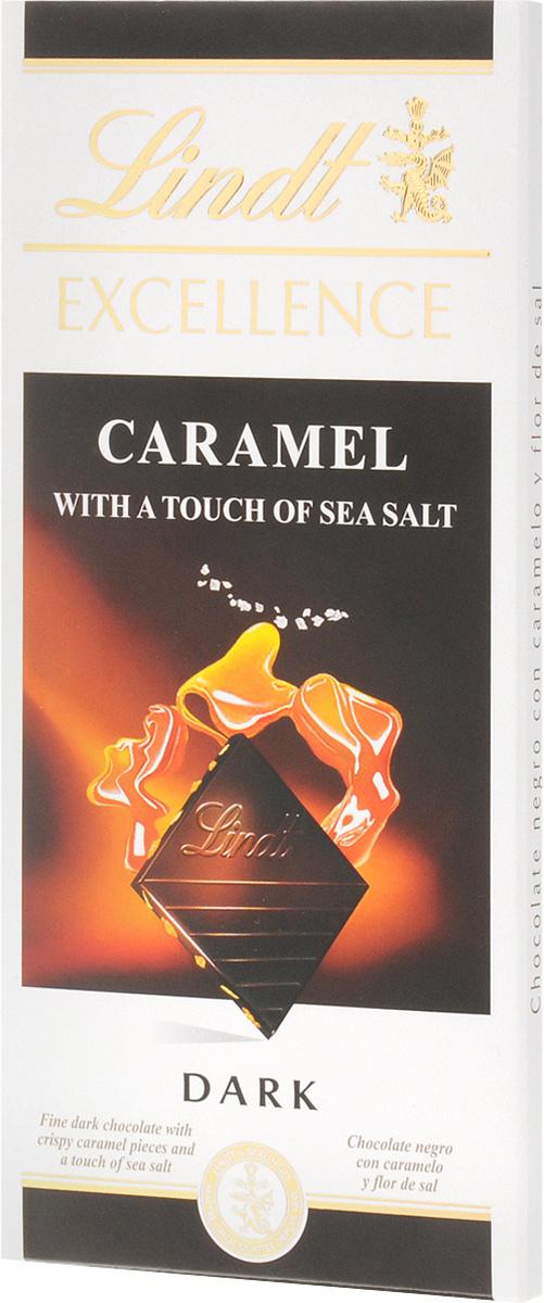 Lindt Excellence темный шоколад с карамелью и морской солью, 100 г3046920027281Этот шоколад станет настоящей находкой для любителей сладостей с необычным вкусом. Шелковистая текстура легко тающего шоколада интересно контрастирует с хрустящими кусочками карамели и кристаллами соли, которые придают вкусу лакомства пикантный солоноватый оттенок. Уважаемые клиенты! Обращаем ваше внимание, что полный перечень состава продукта представлен на дополнительном изображении.