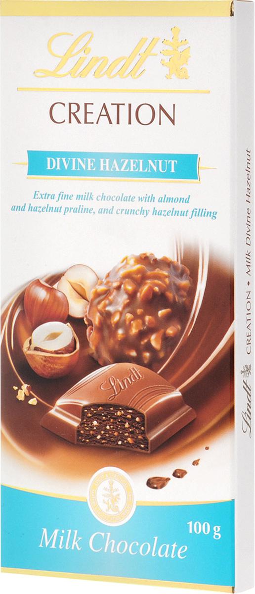 Lindt Creation молочный шоколад с начинкой пралине из миндаля и фундука, 100 г3046920022545Классический швейцарский молочный шоколад с орехами отличается сливочным, нежным вкусом. Очень вкусное и нежное лакомство, которое понравится всей вашей семье. Уважаемые клиенты! Обращаем ваше внимание, что полный перечень состава продукта представлен на дополнительном изображении.