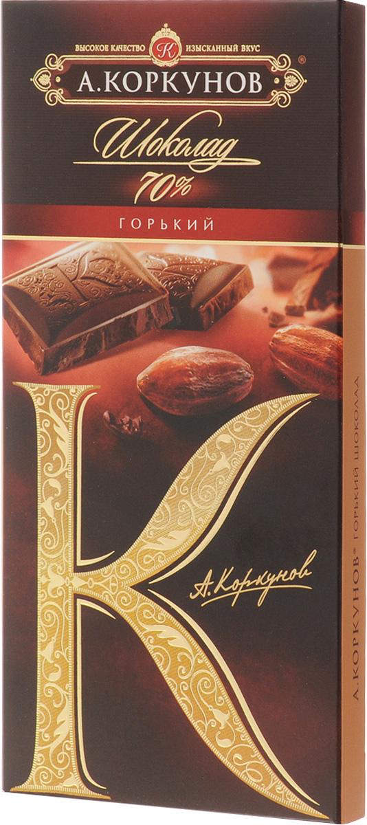 Коркунов горький шоколад 70%, 90 г79005025Горький шоколад Коркунов - настоящий российский шоколад, благородный и изысканный. Для производства шоколада используются только отборные какао-бобы. Уважаемые клиенты! Обращаем ваше внимание, что полный перечень состава продукта представлен на дополнительном изображении.