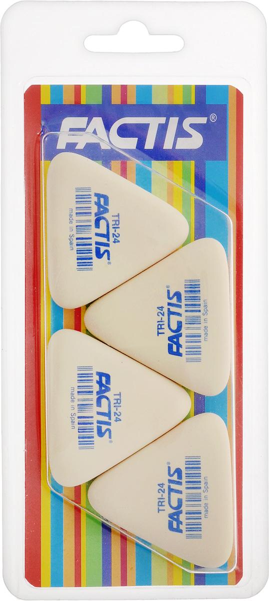 Factis Набор мягких ластиков 4 штTRI-24/4Набор мягких ластиков из синтетического каучука Factis идеально подходят для применения как в школе, так и в офисе. Ластики обеспечивают высокое качество коррекции, не повреждают поверхность бумаги, даже при сильном трении, не оставляют следов. Абсолютно безопасны, не токсичны и экологичны. В упаковке 4 ластика.