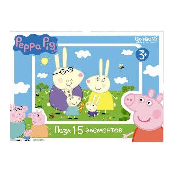 Оригами Мини-пазл Peppa Pig Заяц 01593AST000000000181837_заяцМини-пазл Peppa Pig на 15 деталей. Пазл за пазлом ребёнок будет узнавать о весёлых приключениях Свинки Пеппы. Составление пазла станет развивающим досугом для малыша, т.к. тренирует пространственное мышление, моторику рук, а так же подарит хорошее настроение.
