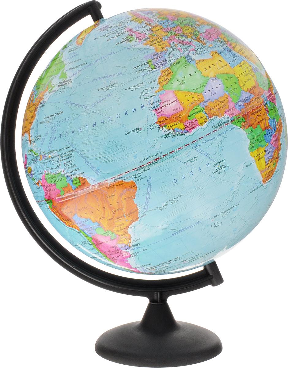Глобусный мир Глобус с политической картой мира диаметр 32 см на подставке10030Большой глобус Глобусный мир на подставке изготовлен из прочного и безопасного пластика. На глобусе расположена политическая карта мира. На глобусе показаны границы стран, названия крупных городов, морей и океанов. Линиями выделены железные дороги, морские рейсы и судоходные каналы. Страны на глобусе обозначены не только границами, но и разными цветами. Все названия на глобусе приведены на русском языке. Изделие расположено на пластиковой подставке черного цвета со съемной основой. Настольный глобус Глобусный мир станет оригинальным украшением рабочего стола или вашего кабинета. Масштаб: 1:40 000 000.