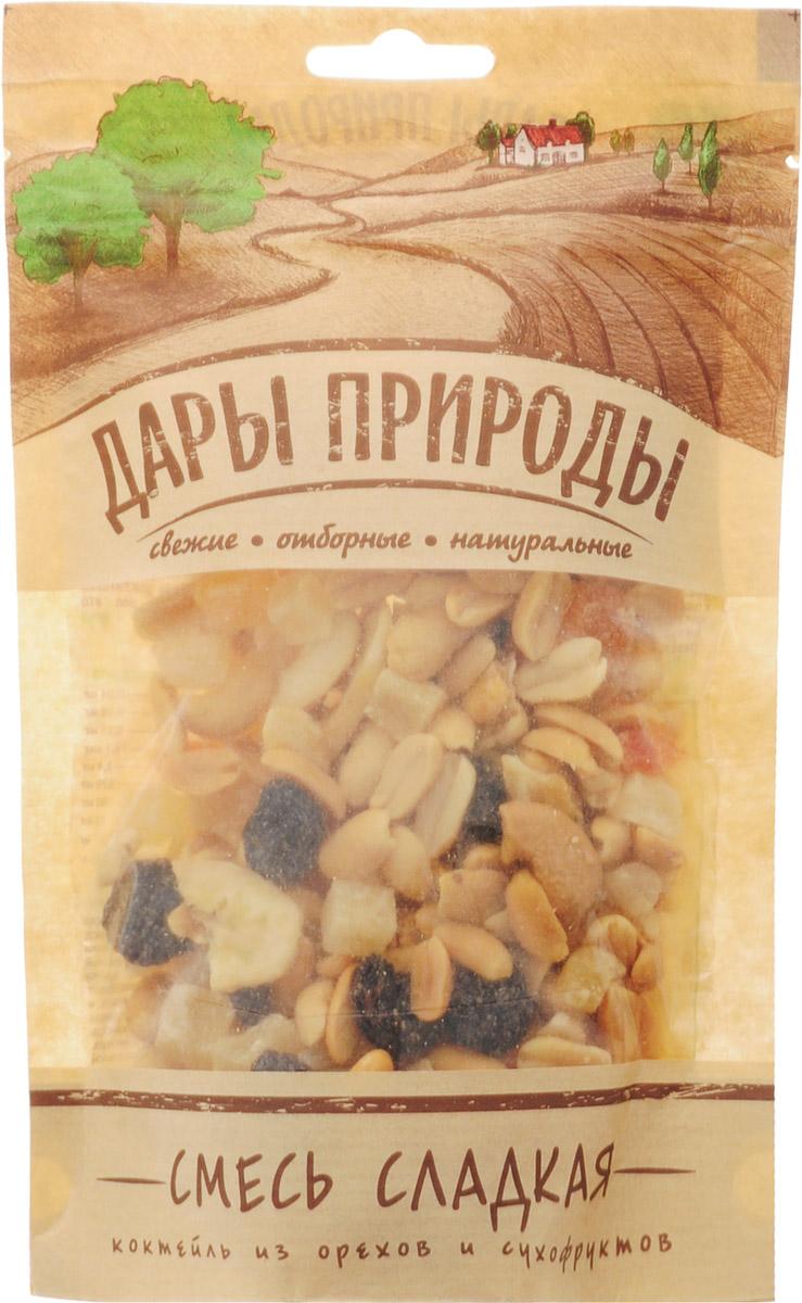 Дары природы Смесь сладкая Коктейль из орехов и сухофруктов, 150 г1808Жареный арахис самого лучшего сорта. Для придания смеси интересного вкуса используется также жареный кешью. Использование крупного, более дорогого и вкусного чилийского изюма. Все плоды проходят обязательную калибровку, сортировку и переборку. В итоге получается продукт отборного качества.