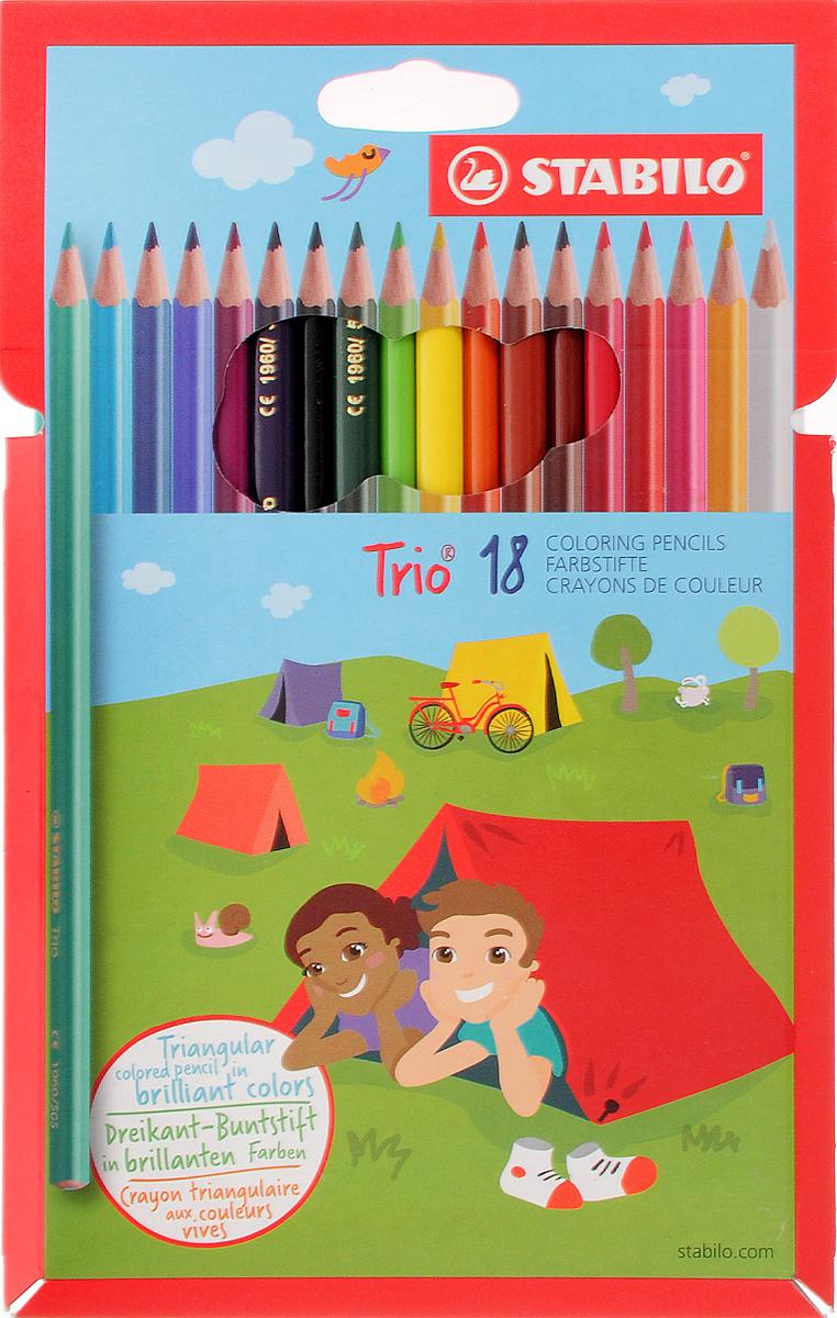 Stabilo Набор цветных карандашей Trio 18 шт 1960/18-011960/18-01Цветные карандаши Stabilo Trio обязательно понравятся вашему юному художнику. Набор включает в себя 18 карандашей с трехгранным корпусом. Карандаши идеально подходят для школы и дома. Карандаши имеют прочный грифель, не требуют сильного нажатия и легко затачиваются. Имеют яркие, сияющие цвета. Такой набор карандашей откроет юным художникам новые горизонты для творчества, поможет отлично развить мелкую моторику рук, цветовое восприятие, фантазию и воображение.