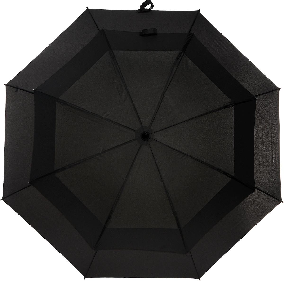 Зонт-трость Stormshield, механический, цвет: черный. S 669 3S001S 669 3S001Оригинальный механический зонт-трость Stormshield с двойным куполом способен укрыть от дождя и штормового ветра небольшую компанию. Усиленный каркас зонта состоит из прочного стального стержня и 8 спиц из фибергласса. Купол выполнен из полиэстера черного цвета. Рукоятка зонта изготовлена из прорезиненного пластика. Зонт-трость имеет механический тип сложения: купол открывается и закрывается вручную до характерного щелчка. Такой стильный и необычный зонт выделит вас из толпы и поднимет настроение окружающим. В комплекте - чехол для хранения.