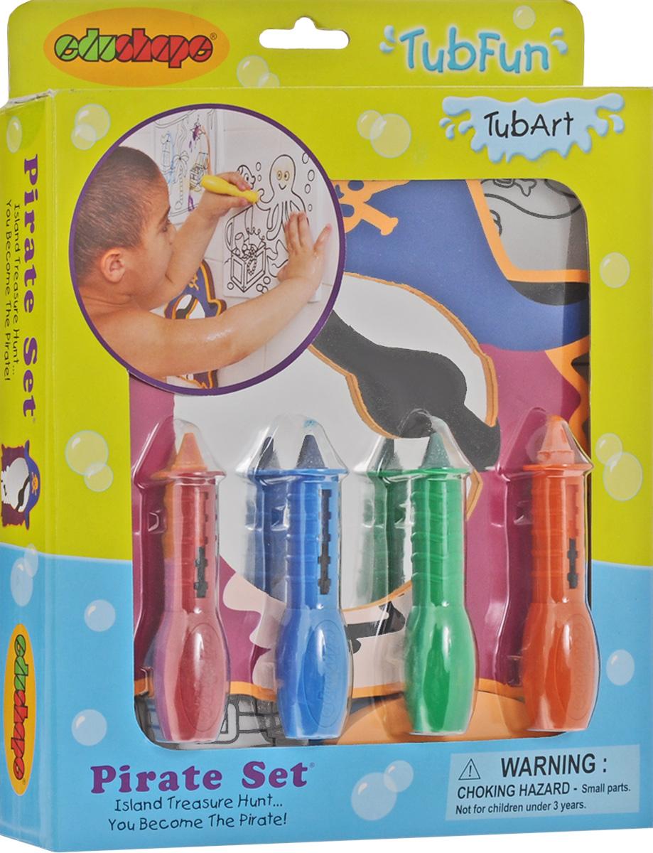 Edushape Набор для рисования в ванной Пират548007Набор для рисования в ванной Edushape Пират - это отличная игрушка для развития в ребенке творческих способностей. Он принесет бесконечные часы радости во время купания у вашего малыша. Ваша юный художник сможет создавать свои шедевры не выходя из ванной. Сделан набор из качественного материала. В набор к раскраскам входит зеркальце, которое легко закрепляется на гладкой стене или кафеле после намачивания.
