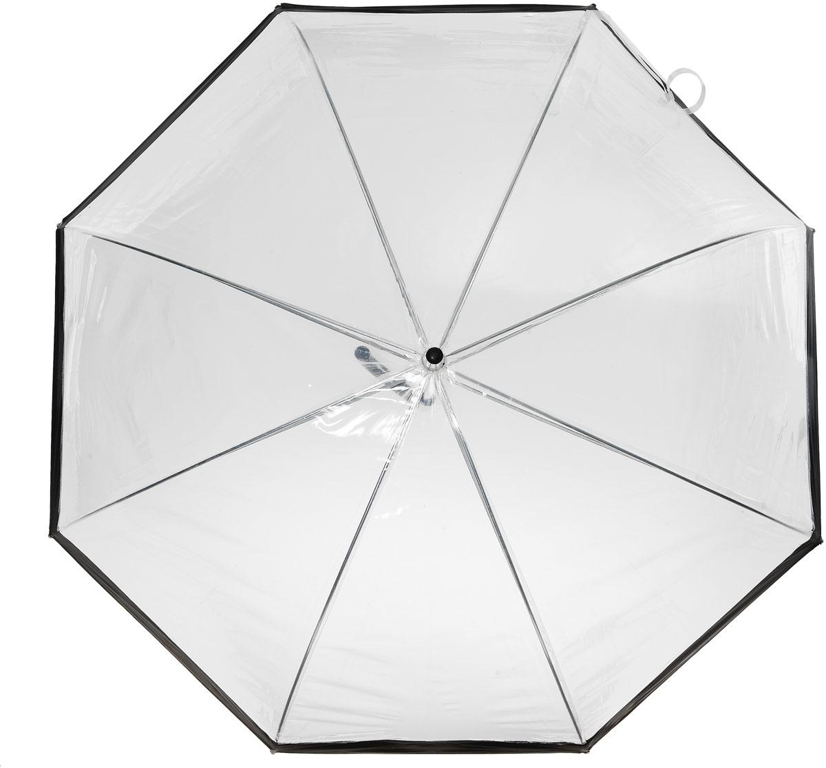 Зонт-трость женский Эврика, механика, цвет: прозрачный, черный. 9166891668Оригинальный зонт-трость Эврика выполнен из высококачественного ПВХ, который не пропускает воду. Каркас зонта, выполненный из прочного металла, состоит из восьми спиц. Зонт имеет механический тип сложения: открывается и закрывается вручную до характерного щелчка. Изделие оснащено удобной пластиковой ручкой изогнутой формы.