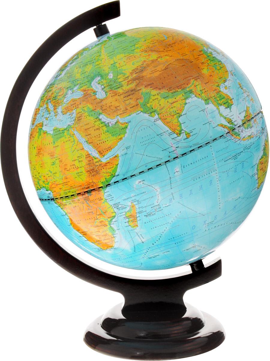 Глобусный мир Глобус с физической/политической картой мира диаметр 25 см с подсветкой на подставке цвет коричневый10096Глобус с физической и политической картой мира Глобусный мир изготовлен из прочного и безопасного пластика. На глобусе показаны границы стран, названия крупных городов, пустынь, гор, морей и океанов. Нанесены направления и названия морских течений. На глобусе имеется рисунок, который отчетливо показывает рельеф местности и горные массивы. Все названия на глобусе приведены на русском языке. Глобус расположен на деревянной подставке коричневого цвета. Изделие имеет подсветку. Настольный глобус Глобусный мир станет оригинальным украшением рабочего стола или вашего кабинета. Масштаб: 1:50 000 000.