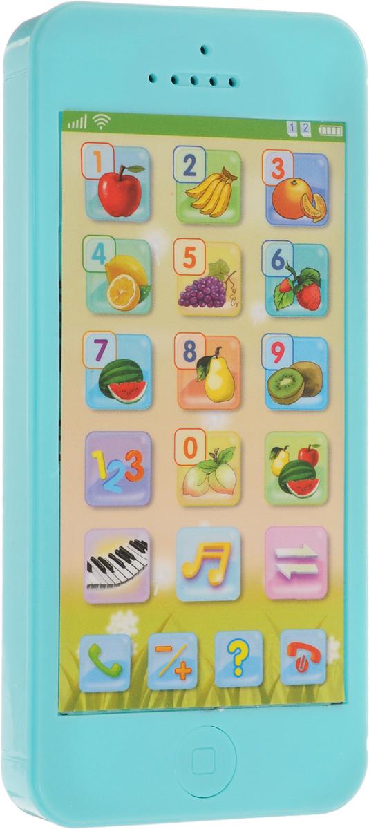 Mommy Love Развивающая игрушка Телефончик цвет голубой82032_голубойРазвивающая игрушка Mommy Love Телефончик выполнена из безопасного пластика голубого цвета. Игрушка выполнена в форме прямоугольного сенсорного телефона. На дисплее расположены кнопки с изображениями спелых фруктов и цифр от 0 до 9, а также кнопки вызова, сброса и выбора режимов. В нижней части телефона находится кнопка включения/выключения игрушки. Телефон воспроизводит забавные звуки и веселые мелодии, научит ребенка складывать и вычитать. С помощью телефона можно играть и учить цифры на русском и английском языках. При нажатии на кнопки произносится название того или иного предмета. При нажатии на кнопку ? ребенку называется цифра/предмет и предлагается выбрать правильный вариант ответа. Если ответ выбран верно, звучат аплодисменты, при ошибке телефон предлагает попробовать еще раз. Игрушка поможет вашему малышу развить слух, музыкальное восприятие. Телефон развивает социальные потребности ребенка. Для работы игрушки необходимы 3...