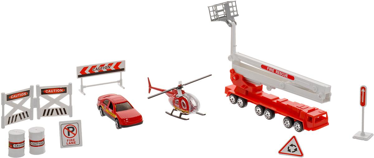 Big Motors Игровой набор Пожарная служба27669-600;JP600Игровой набор Big Motors Пожарная служба непременно привлечет внимание вашего малыша и не позволит ему скучать. Набор включает в себя 2 машинки, вертолет, дорожные знаки и 2 бочки. Корпус вертолета и кузов легковой машинки изготовлены из металла, остальные элементы - из пластика. Колеса машинок и лопасти вертолета вращаются, пожарная вышка раскладывается. Реалистичные модели машинок дополнят автопарк вашего малыша, подойдут для игр дома и на природе, благодаря прочной конструкции и долговечным колесам. Этот чудесный набор будет отличным подарком любому мальчишке. Он сможет часами играть в него, придумывая все новые и новые истории.