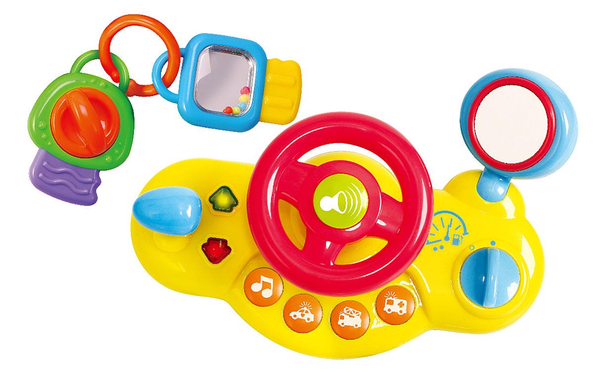 Playgo Игровой центр Руль c ключамиPlay 2505Игровой центр Playgo Руль с ключами надолго займет вашего маленького автолюбителя. Игрушка выполнена в виде игровой панели с крутящимся рулем и разными кнопочками. Руль дополнен клаксоном, по бокам от него - рычаг переключения режимов и кнопка включения. На передней части панели имеются кнопочки включения разных звуковых сигналов. Панель дополнена круглым безопасным зеркальцем. Зеркало поворачивается с легким мелодичным треском. К игровой панели прилагается брелок с двумя игрушечными ключами. Один из ключей оборудован безопасным зеркалом и гремящими шариками, другой - крутящимся рычагом со звуком трещотки. Игровой центр можно расположить на любой горизонтальной поверхности или закрепить на коляске с помощью специальных ремешков. Игрушка развивает координацию движений, тактильные навыки и мелкую моторику рук ребенка, а издаваемые звуки будут активно стимулировать слух малыша. Рекомендуется докупить 2 батарейки типа ААА (комплектуется демонстрационными).