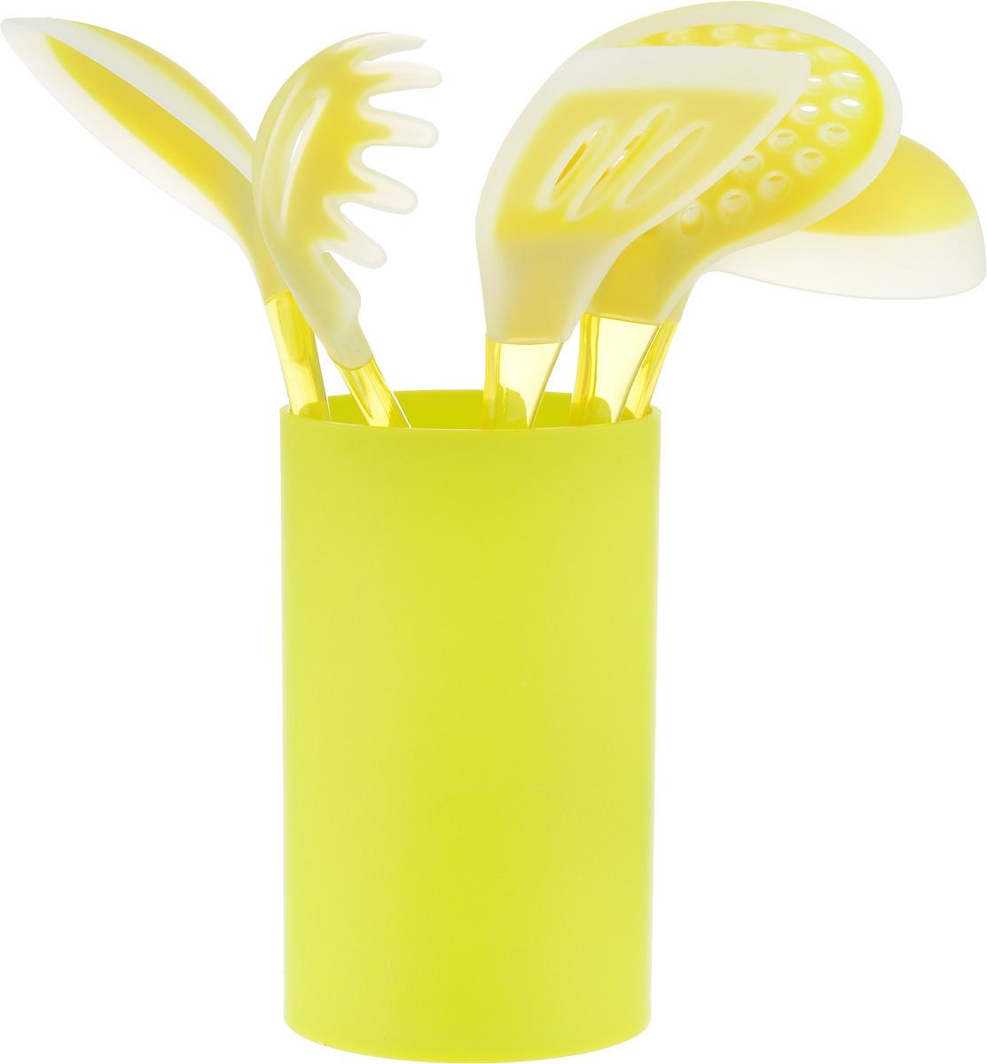 Набор кухонных принадлежностей Mayer & Boch, цвет: салатовый, 6 предметов22487_салатовыйНабор кухонных принадлежностей Mayer & Boch включает ложку для спагетти, лопатку с прорезями, ложку для помешивания, шумовку, половник и подставку. Приборы выполнены из пластика, рабочие поверхности предметов покрыты безопасным пищевым силиконом, что позволяет использовать их для посуды с антипригарным покрытием. Ручки приборов, изготовленные из полистирола, снабжены отверстиями для подвешивания. Для удобного хранения в наборе предусмотрена подставка с покрытием Soft-Touch. Этот профессиональный набор очень удобен в использовании. Наслаждайтесь приготовлением пищи с набором кухонных принадлежностей Mayer & Boch. Длина ложки для спагетти: 31 см. Диаметр рабочей поверхности ложки для спагетти: 7,5 см. Длина шумовки: 34 см. Диаметр рабочей поверхности шумовки: 10,5 см. Длина ложки: 33 см. Размер рабочей поверхности ложки: 6,5 х 11 см. Длина лопатки: 33,5 см. Размер рабочей поверхности лопатки:...