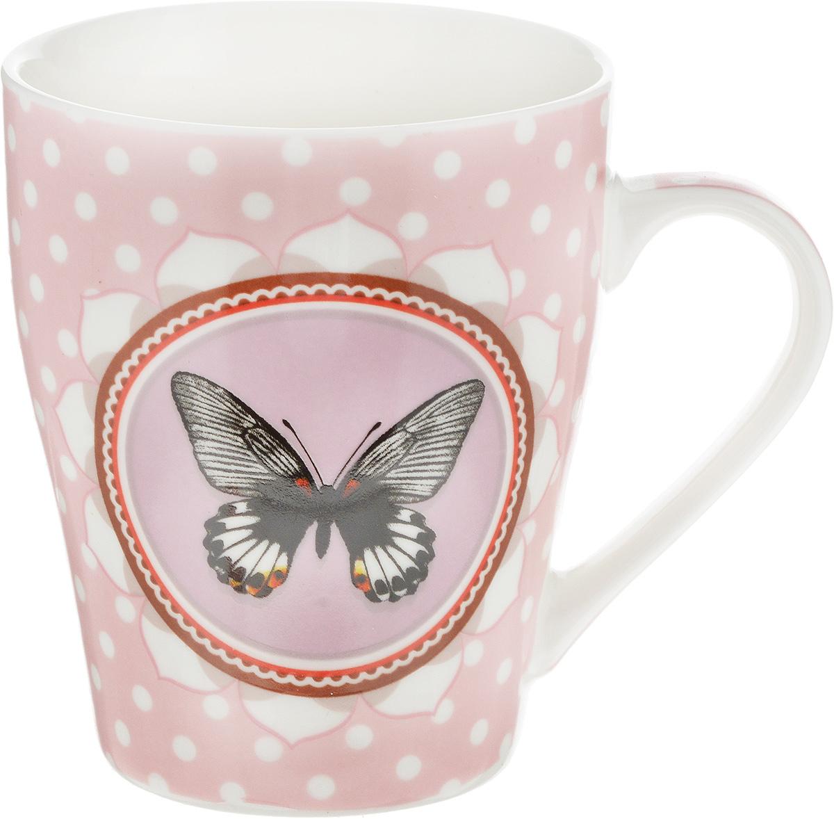 Кружка Loraine Бабочка, цвет: розовый, белый, черный, 340 мл24453_розовый, белый, черныйОригинальная кружка Loraine Бабочка выполнена из высококачественного костяного фарфора и оформлена красочным рисунком. Она станет отличным дополнением к сервировке семейного стола и замечательным подарком для ваших родных и друзей. Диаметр кружки (по верхнему краю): 8 см. Высота кружки: 10 см.