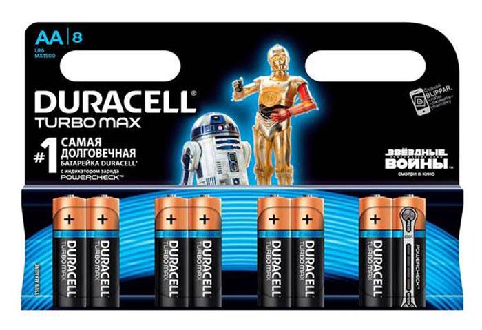 Набор алкалиновых батареек Duracell Turbo Max, тип AA, 8 штDRC-81480376Набор батареек Duracell Turbo Max предназначен для использования в различных электронных устройствах небольшого размера, например в пультах дистанционного управления, портативных MP3-плеерах, фотоаппаратах, различных беспроводных устройствах. Батарейки оснащены индикатором заряда. Характеристики: Тип элемента питания: AA (LR6). Тип электролита: щелочной. Выходное напряжение: 1,5 В. Комплектация: 8 шт. Артикул: DRC-81255919. .