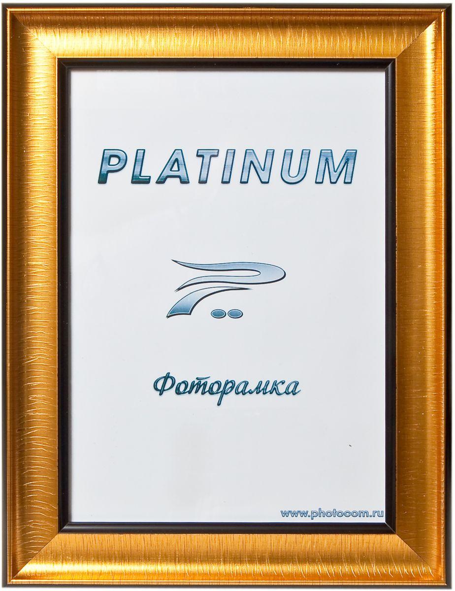 Фоторамка Platinum, цвет: золотистый, 21 x 30 см. JW100-5Platinum JW100-5-ЗОЛОТОЙ 21x30Фоторамка Platinum выполнена в классическом стиле из пластика и стекла, защищающего фотографию. Оборотная сторона рамки оснащена специальной ножкой, благодаря которой ее можно поставить на стол или любое другое место в доме или офисе. Также изделие дополнено двумя специальными петлями для подвешивания на стену. Такая фоторамка поможет вам оригинально и стильно дополнить интерьер помещения, а также позволит сохранить память о дорогих вам людях и интересных событиях вашей жизни.