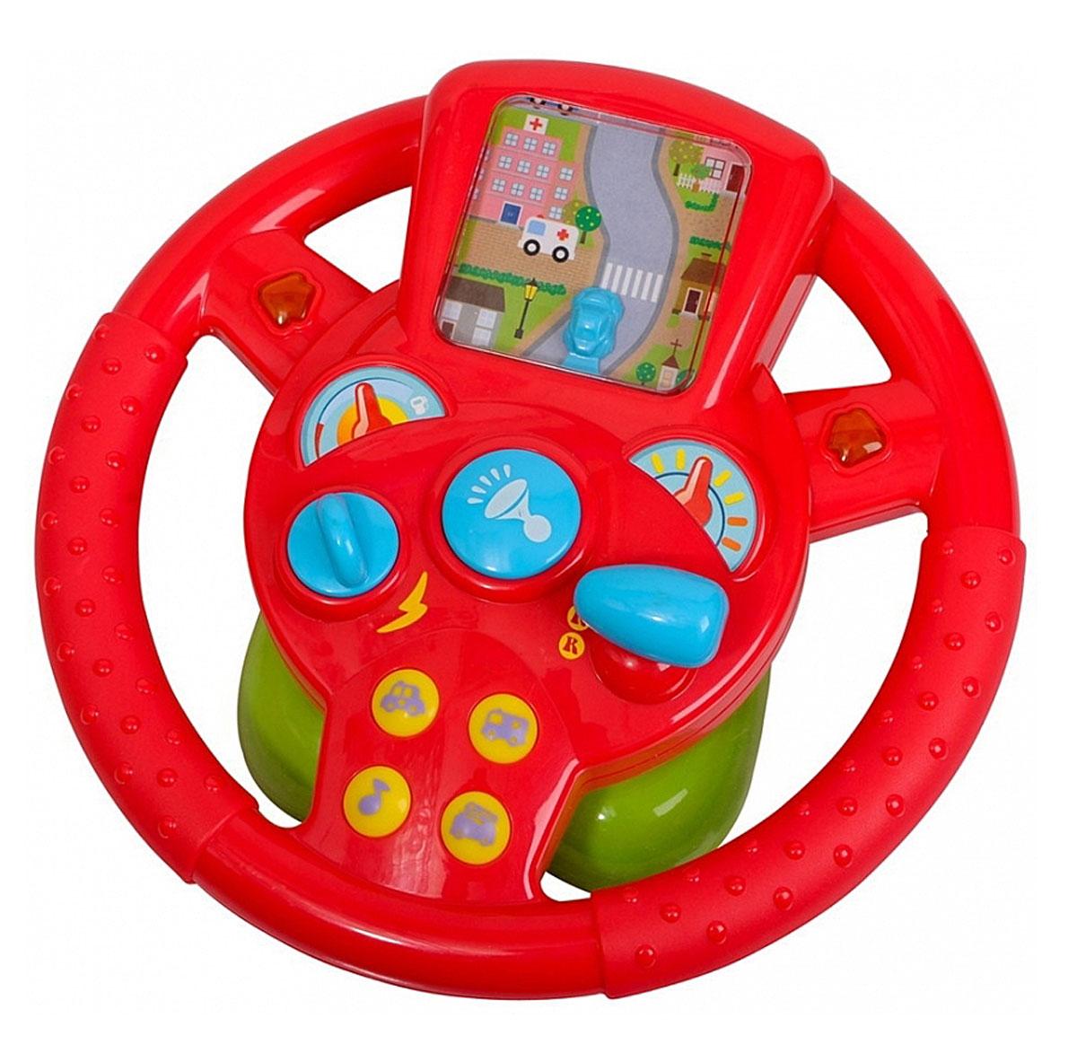 Playgo Игровой центр ВодительPlay 2456Игровой центр Playgo Водитель надолго займет вашего маленького автолюбителя. Игрушка выполнена в виде большого красного руля на удобной панели. Руль дополнен клаксоном, рычагами и кнопочками для включения разных звуковых сигналов. При включении игрушки мигают боковые стрелки. Руль дополнен динамичной игрой: под прозрачным пластиком имеется маленькая машинка, которая едет по извилистой дороге. Управлять машинкой можно с помощью поворачивания руля. Игрушка развивает координацию движений, тактильные навыки и мелкую моторику рук ребенка, а издаваемые звуки будут активно стимулировать слух малыша. Рекомендуется докупить 3 батарейки типа АА (комплектуется демонстрационными).