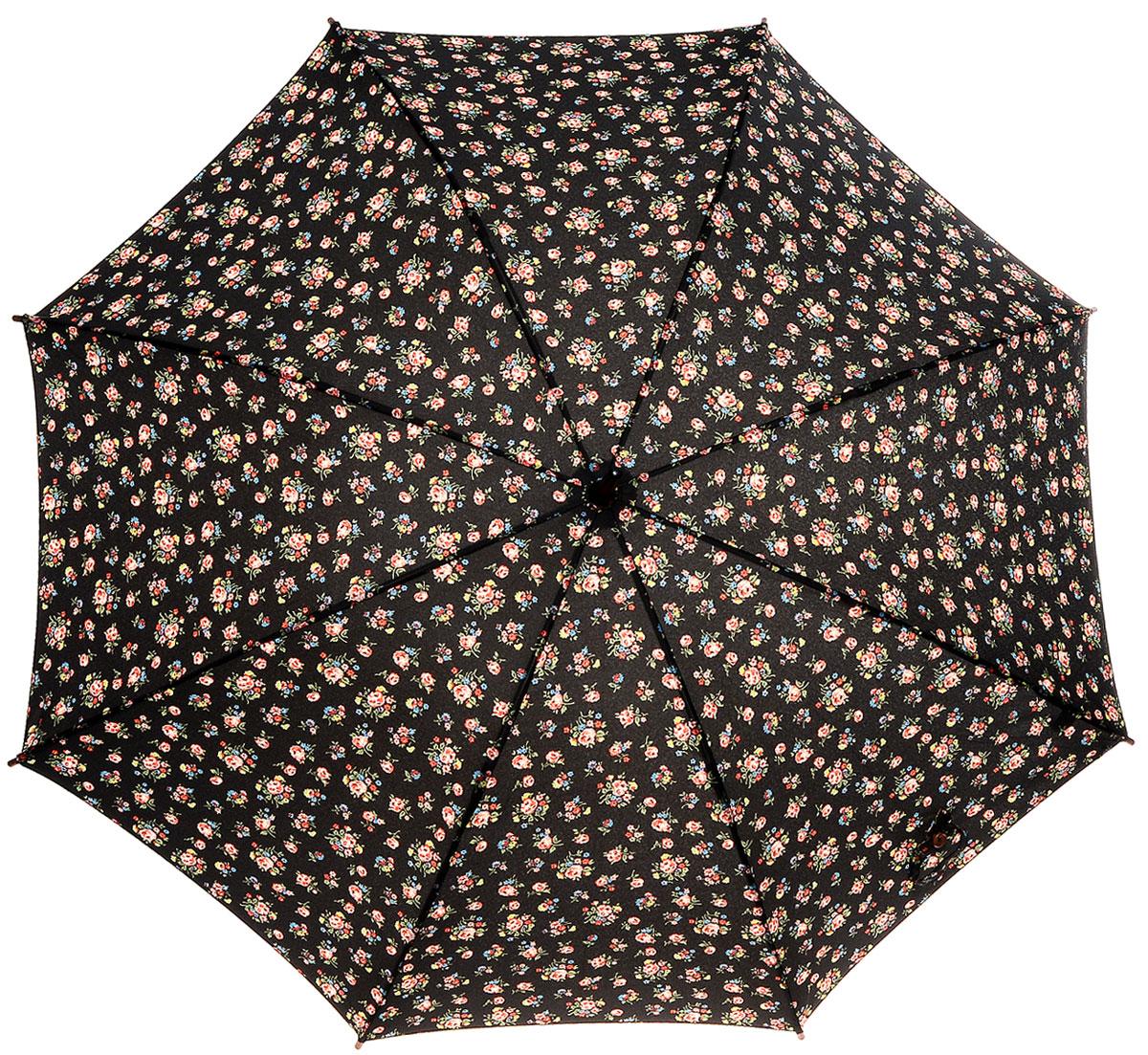 Зонт-трость женский Cath Kidston Kensington, механический, цвет: черный. L541-2652L541-2652 KewSprigCharcoleЯркий механический зонт-трость Cath Kidston Kensington даже в ненастную погоду позволит вам оставаться стильной и элегантной. Каркас зонта включает 8 спиц из фибергласса с деревянным наконечниками. Стержень изготовлен из дерева. Купол зонта выполнен из износостойкого полиэстера и оформлен мелким цветочным принтом. Изделие дополнено удобной рукояткой из гладкого дерева. Зонт механического сложения: купол открывается и закрывается вручную до характерного щелчка. Модель дополнительно застегивается с помощью двух хлястиков: на кнопку и липучку с декоративной пуговицей. Такой зонт не только надежно защитит вас от дождя, но и станет стильным аксессуаром, который идеально подчеркнет ваш неповторимый образ.
