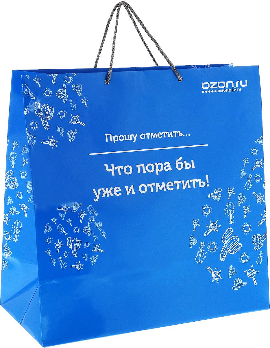 Пакет подарочный Озон Прошу отметить, что пора уже и отметить, 45х45х22 смУФ-00000928Подарочный бумажный пакет. Размер 45х45х22 (дно) см, верёвочный шнур