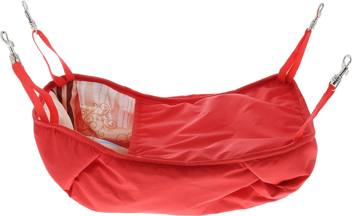 Гамак-кроватка для шиншилл и хорьков ЗооМарк, подвесной, цвет: красный. Д-12КД-12КГамак-кроватка ЗооМарк станет лучшим подарком для вашего любимца. Гамак выполнен из водоотталкивающего текстиля с мягким наполнителем и оснащен 4 специальными креплениями на карабинах. Мягкий и теплый гамак-кроватка ЗооМарк надолго привлечет внимание животного, обеспечит интересным времяпровождением, а также даст возможность прятаться внутри от холода и посторонних взглядов. Длина крепления: 13 см.