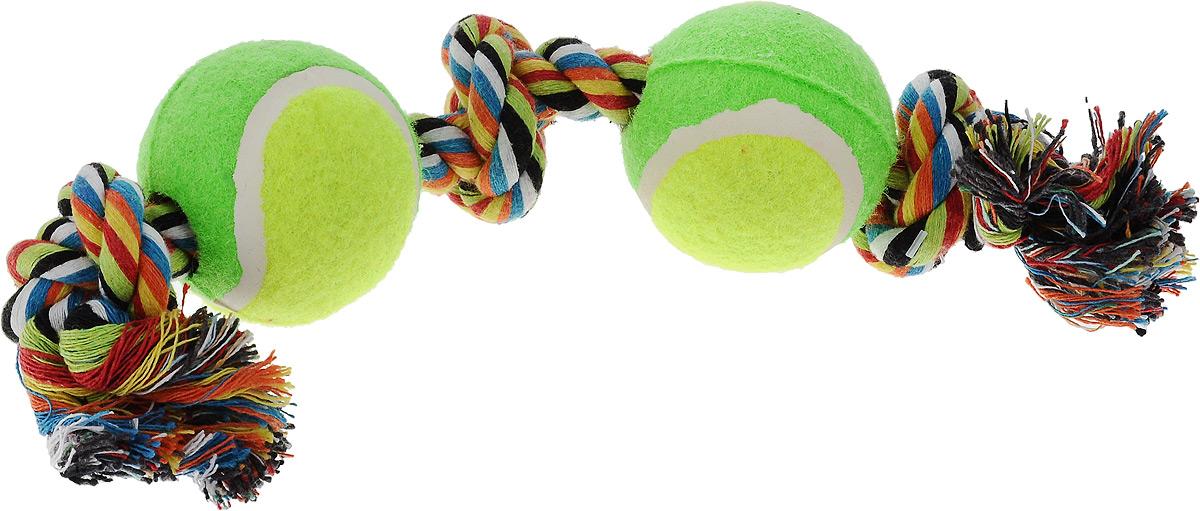 Игрушка для собак Каскад Канат. 3 узла + 2 мяча, цвет: салатовый, зеленый, длина 35 см27799290_салатовый, зеленыйИгрушка для собак Каскад Канат. 3 узла + 2 мяча станет любимым предметом для вашего питомца. Игрушка прочная и может выдержать огромное количество часов игры. Это идеальная замена косточке. Также изделие подойдет для бросков и игры в перетягивание. Игрушка представляет собой канат с двумя мячами. Длина игрушки: 35 см. Диаметр мяча: 6 см.
