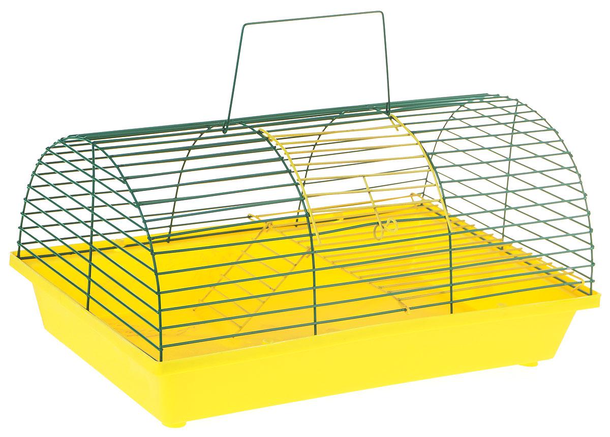 Клетка для грызунов ЗооМарк, цвет: желтый поддон, зеленый решетка, 36 х 23 х 17,5 см(110ж)ЖЗКлетка ЗооМарк, выполненная из полипропилена и металла, подходит для грызунов. Она имеет яркий поддон, удобна в использовании и легко чистится. Клетка оснащена вторым ярусом с лесенкой, выполненных из металла. Такая клетка станет уединенным пространством и уютным домиком для маленького грызуна.