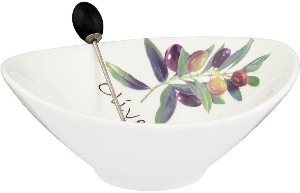 Тарелочка под оливки Elan Gallery Ветка оливы, с вилкой, 200 мл101116Тарелочка подходит для сервировки оливок или снеков. Оригинальная вилочка очень удобна в использовании. Изделие имеет подарочную упаковку, поэтому станет желанным подарком для Ваших близких! Объем 200мл Размер 13х11,5х4,5 см
