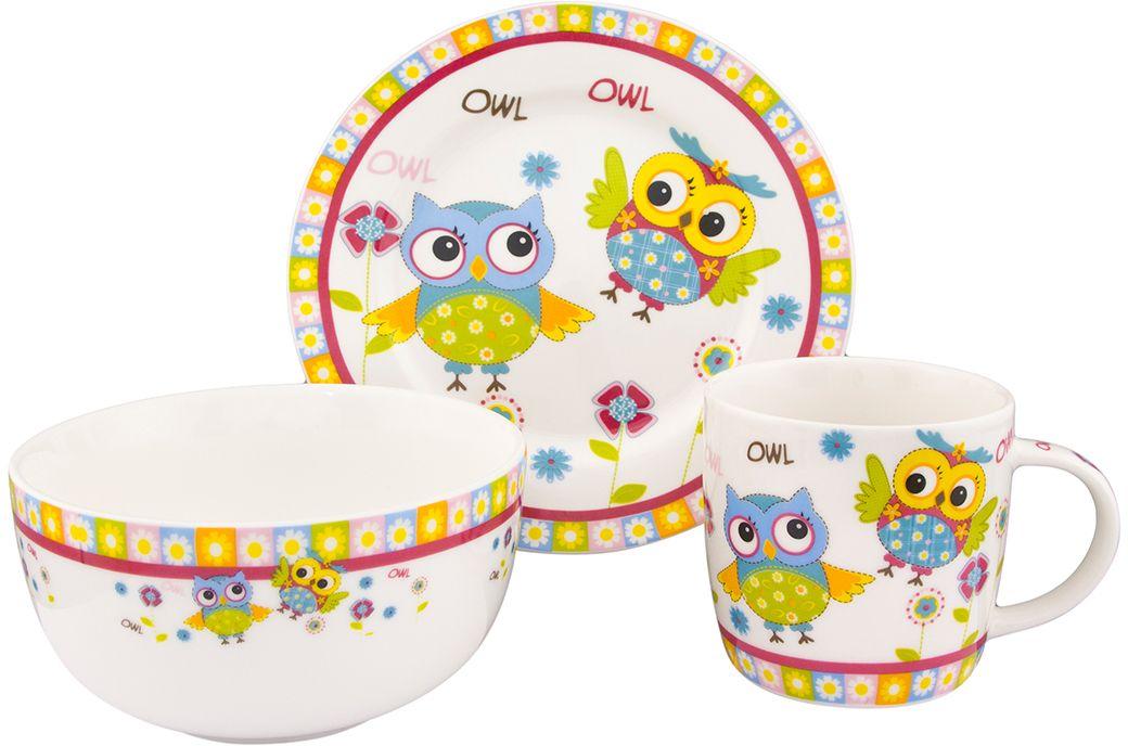 Набор посуды Elan Gallery Забавные красочные совята, 3 предмета290151Детский набор посуды включает в себя 1 кружку 250 мл, 1 миску 570 мл, и 1 десертную тарелку. Понравится маленьким принцам и принцессам! Изделие имеет подарочную упаковку, поэтому станет желанным подарком для детей и их родителей!