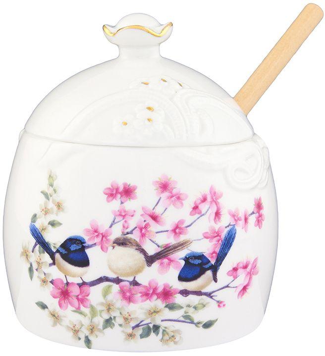 Горшочек для меда Elan Gallery Райские птички, с палочкой, 350 мл420016Горшочек для меда лучший подарок для сладкоежки. Удобство в хранении и симпатичный дизайн.