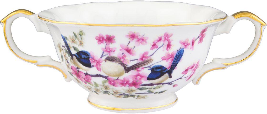 Бульонница Elan Gallery Райские птички, 350 мл420134Бульонница имеет широкую горловину для удобства. Сохранит горячим Ваш суп или бульон благодаря крышке. Универсальна в использовании - подойдет для чая или кофе. Изделие имеет подарочную упаковку, поэтому станет желанным подарком для Ваших близких!