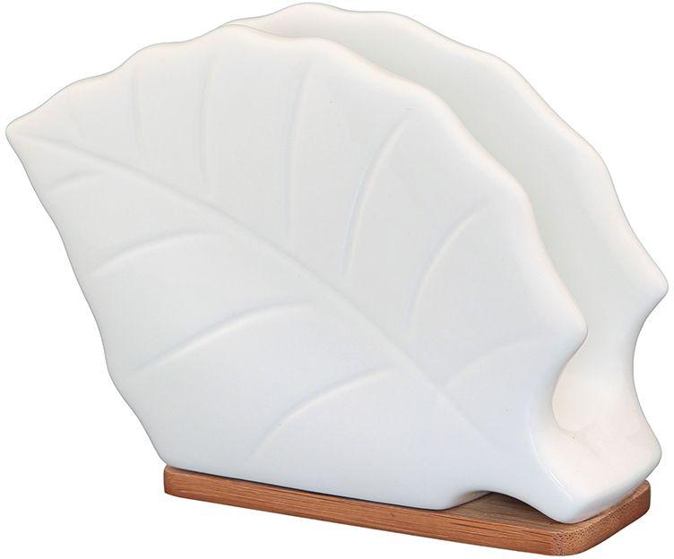 Салфетница Elan Gallery Листок, на подставке, 13 х 5 х 10 см540099Белоснежная салфетница на подставке из бамбука оригинальной формы, удобна в использовании и уходе. Изделие в подарочной коробке.