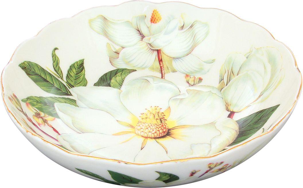 Конфетница-салатник Elan Gallery Белый шиповник, 750 мл740126Изящная посуда, изготовленная из высококачественной керамики с нежным цветочным дизайном прекрасно дополнит интерьер Вашей кухни. А также станет отличным подарком Вашим друзьям и близким.