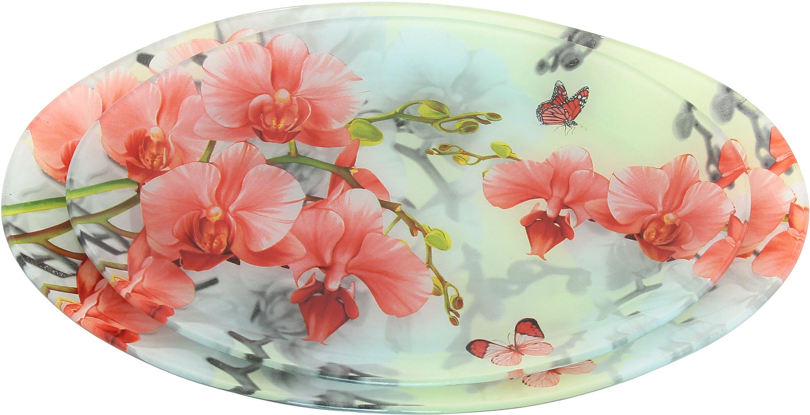 Набор блюд Elan Gallery Орхидея розовая, 2 предмета890118Не важно, какая у Вас посуда, в цветочек, белая, цветная, в горошек или полоску, посуда из стекла подойдет к любой. Придает легкость, воздушность сервировке стола и создаст особую атмосферу праздника.