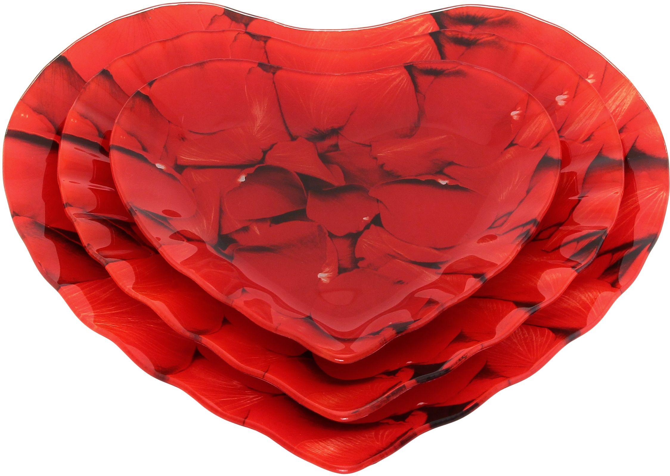 Набор тарелок Elan Gallery Сердце, 3 предмета890133Не важно, какая у Вас посуда, в цветочек, белая, цветная, в горошек или полоску, посуда из стекла подойдет к любой. Придает легкость, воздушность сервировке стола и создаст особую атмосферу праздника.
